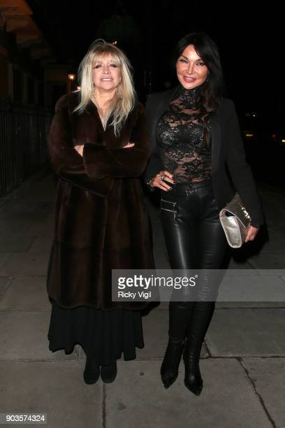 Jo Wood and Lizzie Cundy attend #megsmenopause at Home House on January 10 2018 in London England