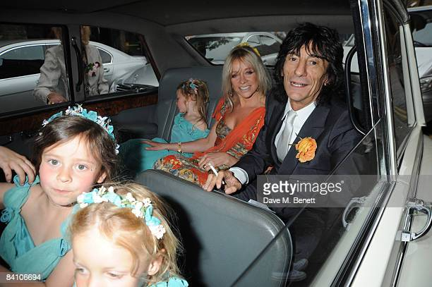 Jo Wood and Ronnie Wood attend the wedding of Leah Wood and Jack MacDonald at Southwark Cathedral on June 21 2008 in London England