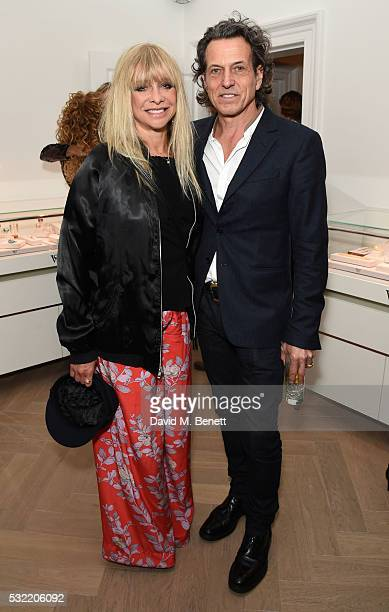 Jo Wood and Stephen Webster attend the launch of the Stephen Webster Salon on Mount Street on May 18 2016 in London England