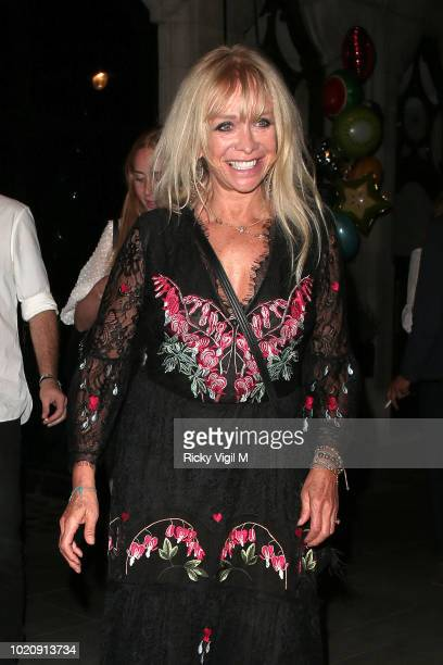 Ronnie Wood and Sally Humphreys seen on a night out at Scott's restaurant celebrating son Tyrone's birthday on August 21 2018 in London England