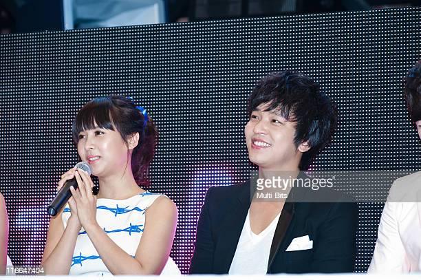Jo YeoJeong and Kim JeongHoon attend tvN 'Romance Ga Pil Yo Hae' at Club Ellui on June 3 2011 in Seoul South Korea