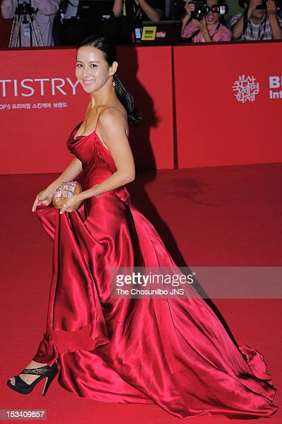 Jo YeoJeong arrives for the opening ceremony of the 17th Busan International Film Festival at the Busan Cinema Center on October 4 2012 in Busan...