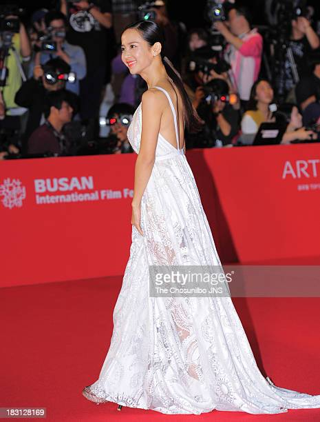Jo YeoJeong arrives for the opening ceremony of the 18th Busan International Film Festival at Busan Cinema Center on October 3 2013 in Busan South...