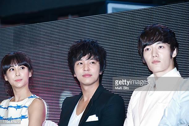 Jo YeoJeong Kim JeongHoon and choi JinHyuk attend tvN 'Romance Ga Pil Yo Hae' at Club Ellui on June 3 2011 in Seoul South Korea