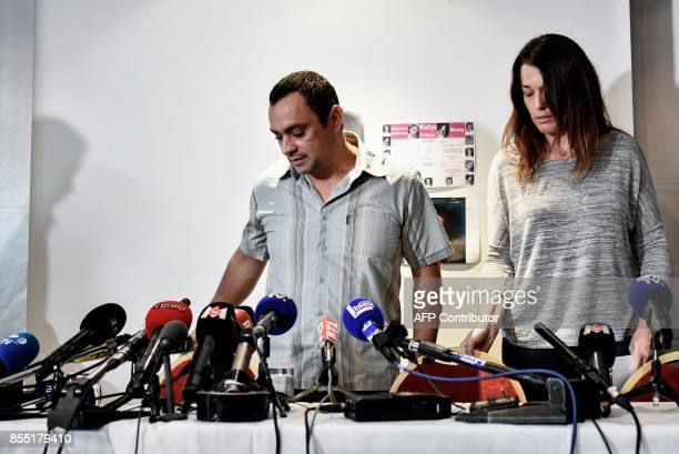 Joachim and Jennifer de Araujo parents of nineyearold Maelys who went missing from a wedding on August 27 arrive to address a press conference in...