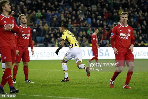 Joachim Andersen of FC Twente Jelle van der Heijden of FC Twente Lewis Baker of Vitesse Peet Bijen of FC Twenteduring the Dutch Eredivisie match...