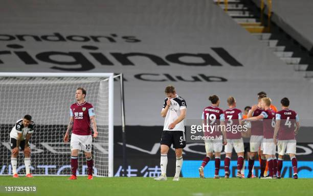 Joachim Andersen of Fulham looks dejected after defeat as Fulham are relegated following the Premier League match between Fulham and Burnley at...