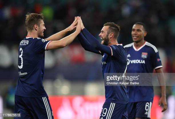 Joachim Andersen of Olympique Lyon, Lucas Tousart of Olympique Lyon and Marcelo of Olympique Lyon celebrate during the UEFA Champions League group G...