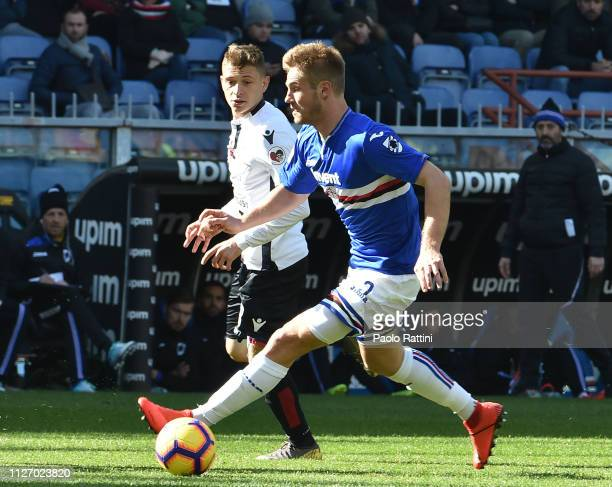 Joachim Andersen of UC Sampdoria in action during the Serie A match between UC Sampdoria and Cagliari at Stadio Luigi Ferraris on February 24 2019 in...
