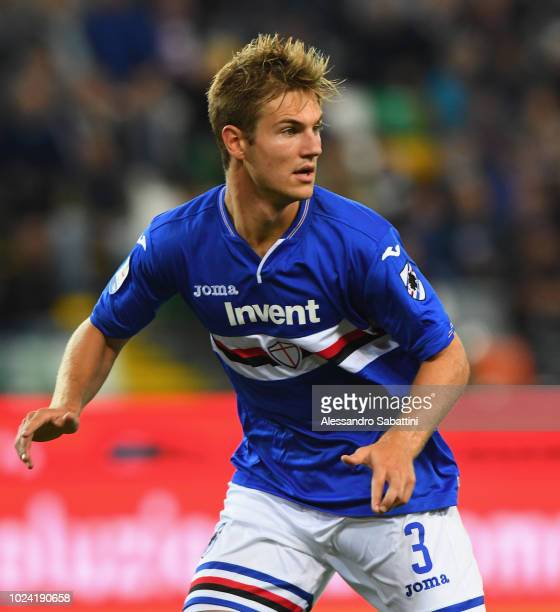 Joachim Andersen of UC Sampdoria looks on during the serie A match between Udinese and UC Sampdoria at Stadio Friuli on August 26 2018 in Udine Italy