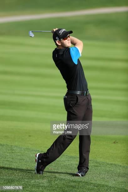 Joachim B Hansen of Denmark plays his second shot on the third hole during Day Three of the Abu Dhabi HSBC Golf Championship at Abu Dhabi Golf Club...