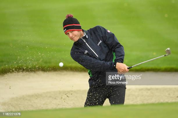 Joachim B. Hansen of Denmark plays his third shot on hole 3 during Day 4 of the Open de France at Le Golf National on October 20, 2019 in Paris,...