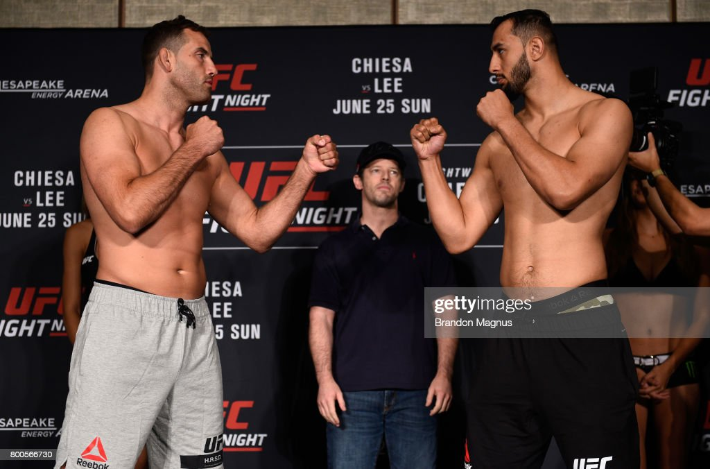 Joachim Christensen of Denmark pand Dominick Reyes face off during the UFC Fight Night weigh-in on June 24, 2017 in Oklahoma City, Oklahoma.