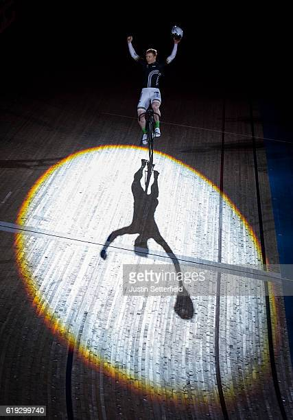 Joachim Eielers celebrates winning the Sprint during the Six Day London Cycling at the Velodrome on October 30 2016 in London England