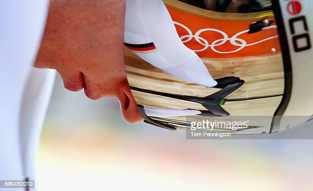 Joachim Eilers of Germany prepares for the start of the Men's Keirin Finals race on Day 11 of the Rio 2016 Olympic Games at the Rio Olympic Velodrome...