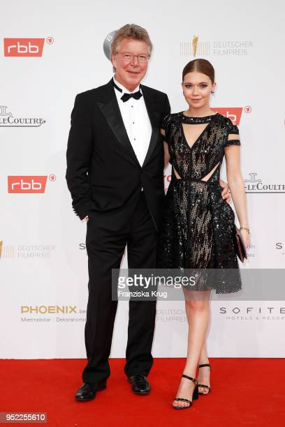 Joachim Flebbe and his daughter Farina Flebbe attend the Lola German Film Award red carpet at Messe Berlin on April 27 2018 in Berlin Germany