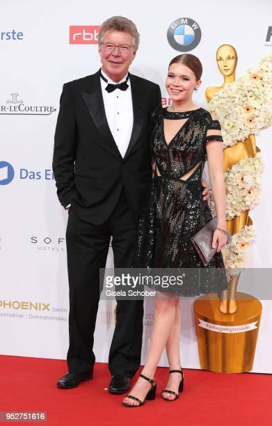 Joachim Flebbe and his daughter Farina Flebbe during the Lola German Film Award red carpet at Messe Berlin on April 27 2018 in Berlin Germany