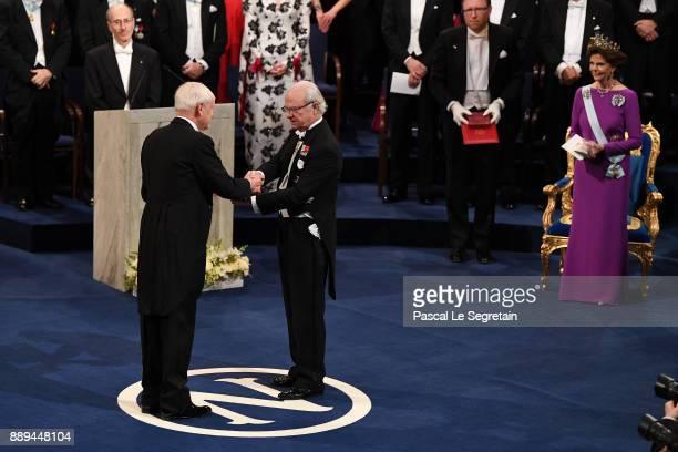 Joachim Frank laureate of the Nobel Prize in chemistry receives his Nobel Prize from King Carl XVI Gustaf of Sweden during the Nobel Prize Awards...