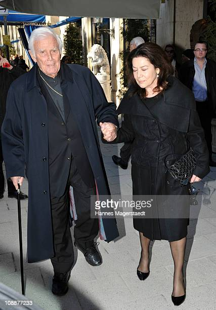Joachim Fuchsberger and Hannelore Elsner attend the memorial service for Bernd Eichinger at the St Michael Kirche on February 07 2011 in Munich...