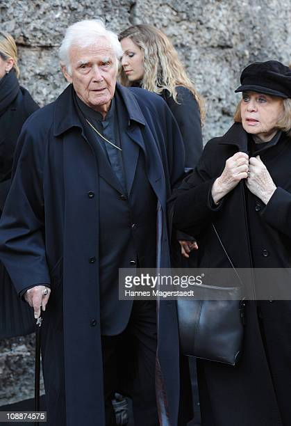 Joachim Fuchsberger and his wife Gundel attend the memorial service for Bernd Eichinger at the St Michael Kirche on February 07 2011 in Munich...