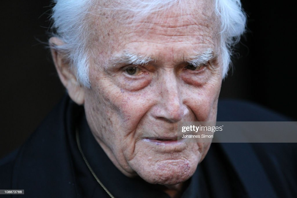 Joachim Fuchsberger attends the memorial service for Bernd Eichinger at the St. Michael Kirche on February 07, 2011 in Munich, Germany. Producer Bernd Eichinger died of a heart attack in Los Angeles on January 24. Leading the Constantin Film he produced films like 'Perfume', 'Christiane F.', 'Smillas Sense of Snow' or 'Der Untergang' receiving multiple awards.