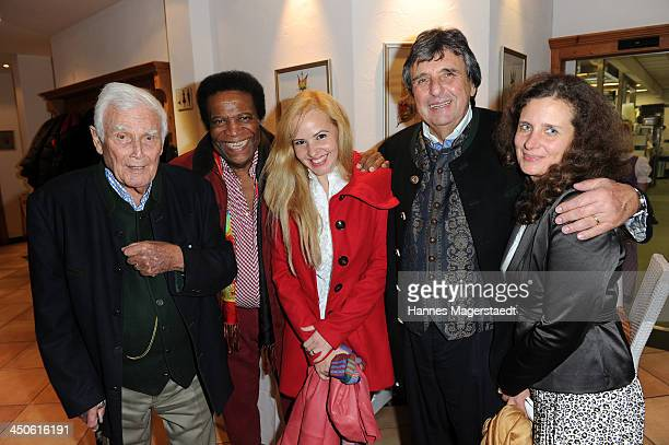 Joachim Fuchsberger Roberto Blanco with his wife Luzandra Blanco Peter Pongratz and his wife Arabella Pongratz attend the Tuscan Wine Festival at...