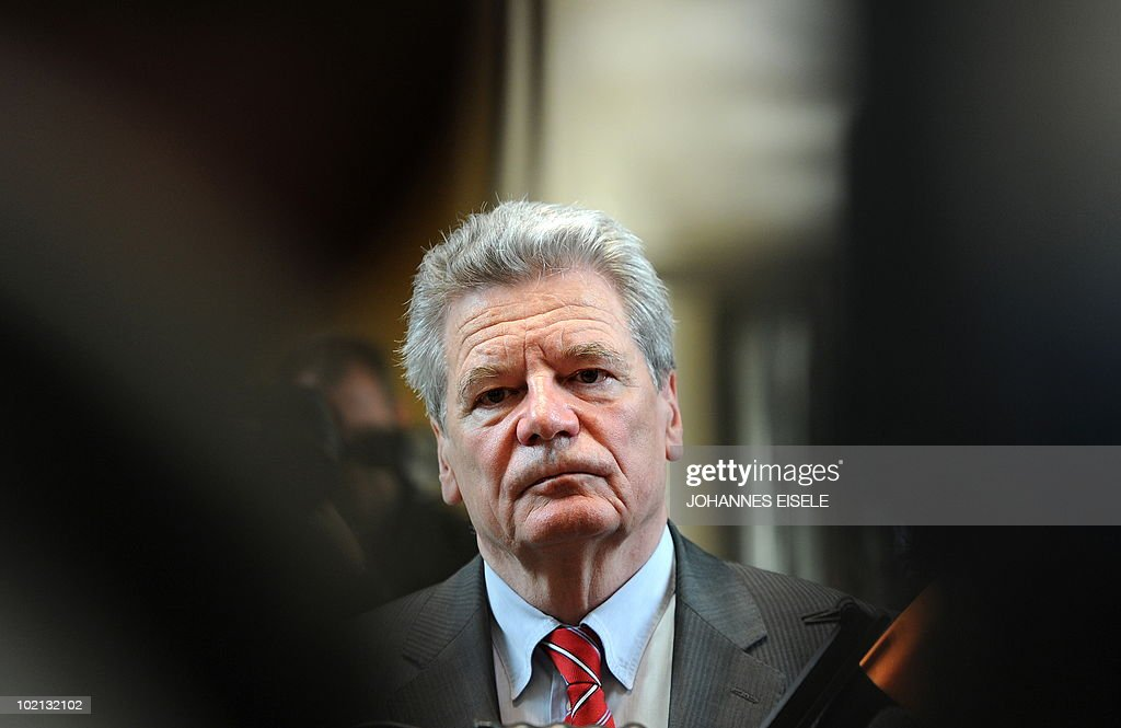Joachim Gauck, candidate of the Social Democrats (SPD) and the Green Party for German president attends a press conference after a meeting at Berlin's state parliament house on June 16, 2010. The new German head of state, whose job is mostly ceremonial but who acts as a kind of national moral arbiter, is not chosen by popular vote but will be elected by a special assembly of MPs and public figures on next June 30.