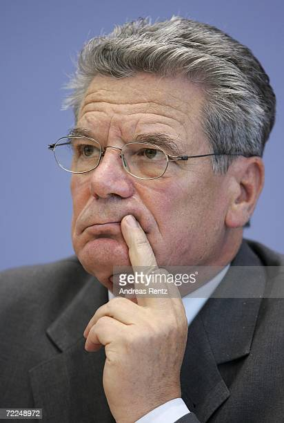 Joachim Gauck looks on during a news conference on October 24 2006 in Berlin Germany Gauck addressed the media together with Charlotte Knobloch...