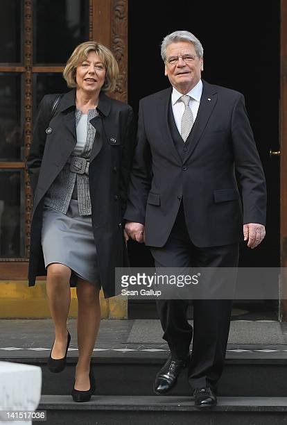 Joachim Gauck Lutheran pastor and former East German humanrights activist and his partner Daniela Schadt depart from Gauck's residence for the...