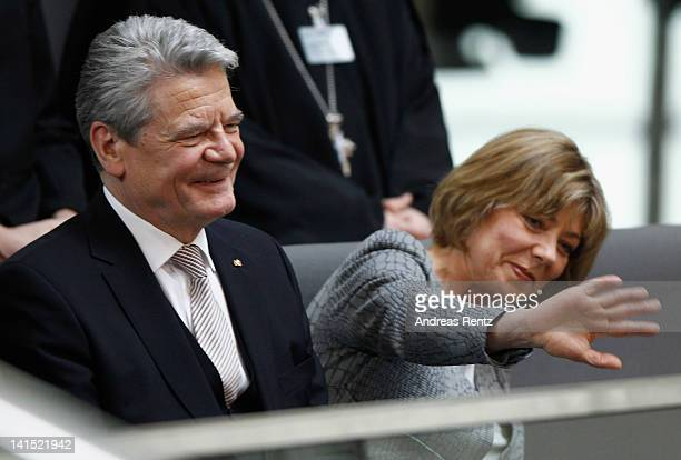 Joachim Gauck Lutheran pastor and former East German humanrights activist and his partner Daniela Schadt attend the election of a new German...