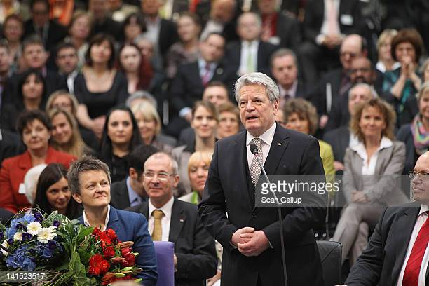 Joachim Gauck Lutheran pastor and former East German humanrights activist accepts his election as new German President by the Federal Assembly at the...