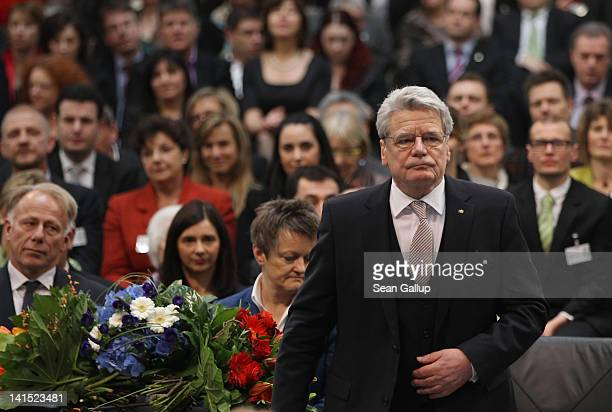 Joachim Gauck Lutheran pastor and former East German humanrights activist rises to speak at the Bundestag after he was elected new German President...