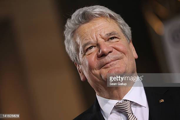 Joachim Gauck Lutheran pastor and former East German humanrights activist speaks to the media at the Bundestag after he was elected new German...