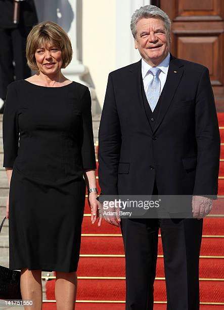 Joachim Gauck, newly-elected German president , and his partner Daniela Schadt arrive at Bellevue presidential palace after Gauck took his oath of...