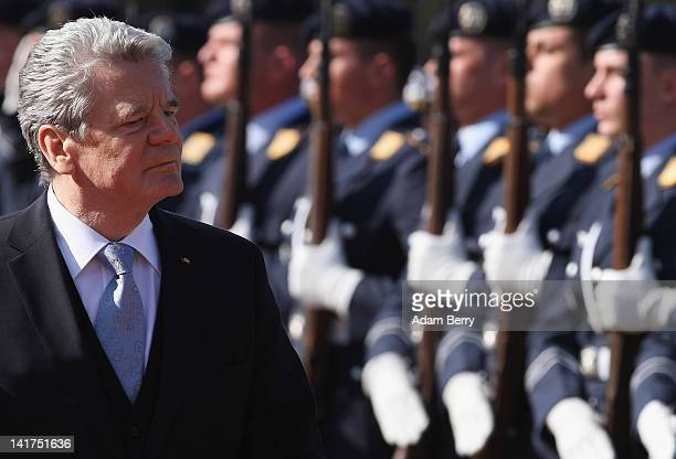 Joachim Gauck, newly-elected German president, attends a military ceremony welcoming him to Bellevue presidential palace after taking his oath of...