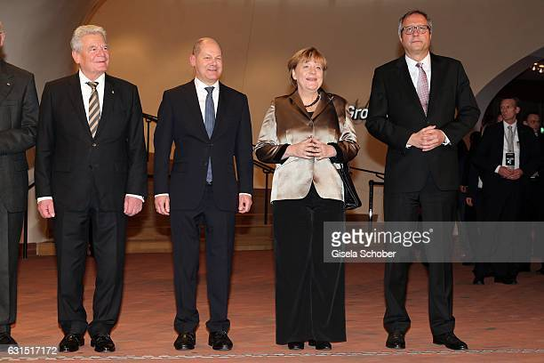 Joachim Gauck Olaf Scholz Major of Hamburg Chancellor Angela Merkel President of the German Supreme Court Dr Andreas Vosskuhle during the opening...