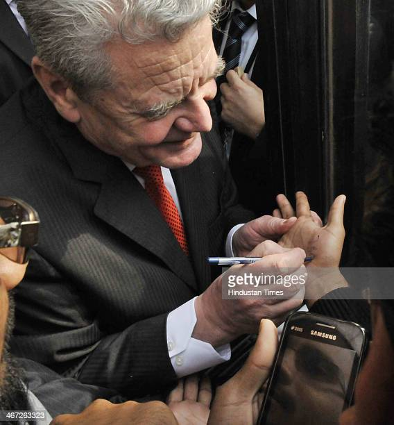 Joachim Gauck President of the Federal Republic of Germany meeting with students before his address at Jawahar Lal Nehru University on February 6...