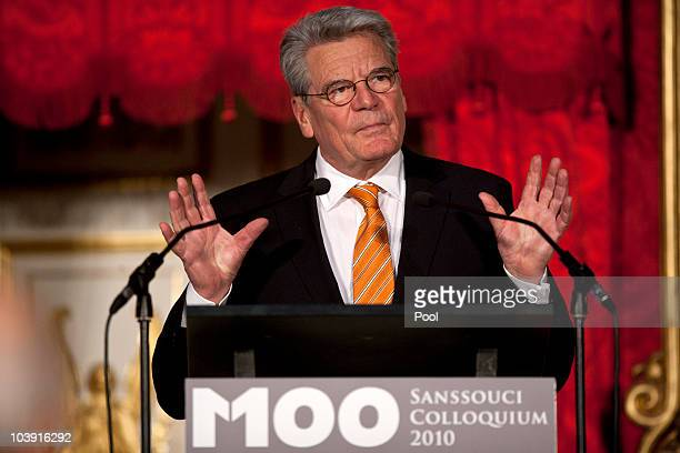 Joachim Gauck speaks during the M110 Media Award ceremony at Sanssouci Palace on September 8 2010 in Potsdam Germany The M100 Media Prize will be...