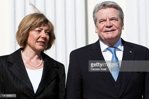 Joachim Gauck the new German president and his partner Daniela Schadt arrive for the inauguration in Schloss Bellevue seat of the Federal President...
