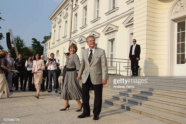 Joachim Gauck with his partner Daniela Schadt arrive for the summer reception at Schloss Bellevue presidential palace on July 2 2010 in Berlin...
