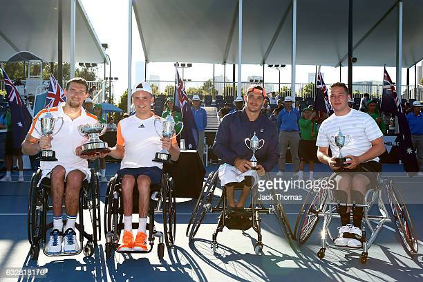 Joachim Gerard of Belgium and Gordon Reid of Great Britain and Gustavo Fernandez of Argentina and Alfie Hewett of Great Britain pose with their...