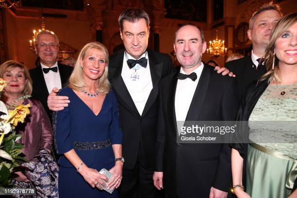 Joachim Hermann, Bavarian Prime Minister Dr. Markus Soeder and his wife Karin Soeder, Hubert Aiwanger, Freie Waehler during the new year reception of...