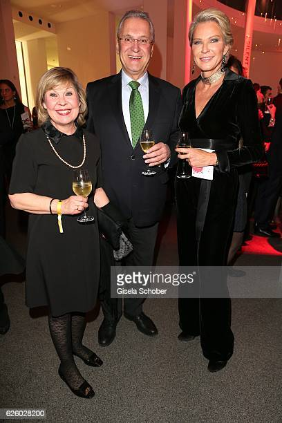 Joachim Herrmann and his wife Gerswid Herrmann and Stephanie von Pfuel during the PIN Party Let's party 4 art' at Pinakothek der Moderne on November...