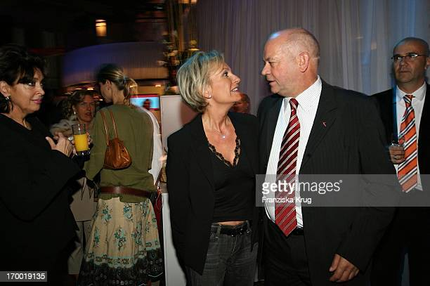 Joachim Hunold with Sabine Christiansen When 'Fly Into The Sunshine' Air Berlin media meeting in Hangar 2 In the Event Center Tempelhof Airport in...