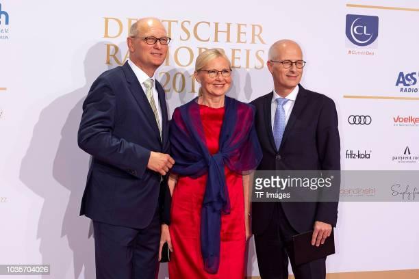 Joachim Knuth and Eva-Maria Tschentscher and Peter Tschentscher attend the Deutscher Radiopreis at Schuppen 52 on September 6, 2018 in Hamburg,...