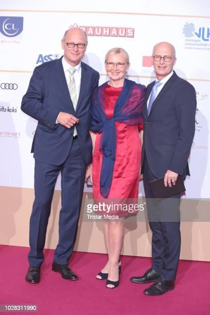Joachim Knuth, mayor of Hambuerg Peter Tschentscher and his wife Eva Maria Tschentscher attend the Deutscher Radiopreis at Schuppen 52 on September...