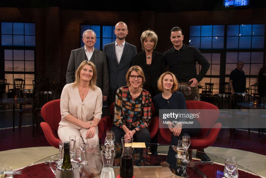 Joachim Krol, Konja Simon Rohde, Judy Winter, Andreas Gabalier (front row L-R) Tina Hassel, Bettina Boettinger and Kassandra Wedel attend the 'Koelner Treff' TV Show at the WDR Studio on May 19, 2017 in Cologne, Germany.