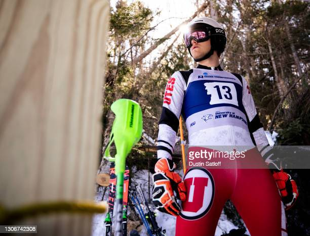 """Joachim Lein of the University of Utah before the start of the second run of the men""""u2019s slalom at the NCAA Skiing Championships on March 12, 2021..."""
