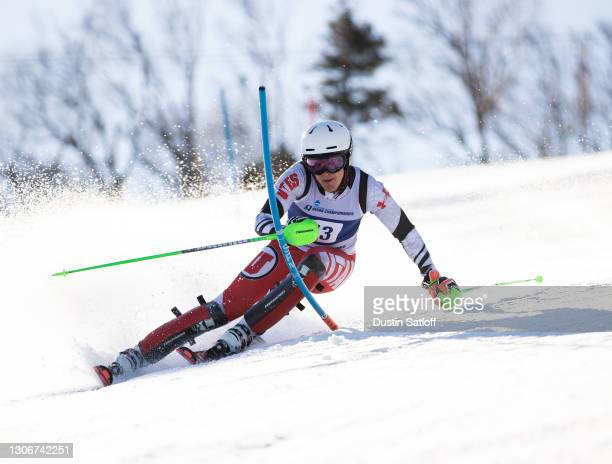 """Joachim Lein of the University of Utah during the first run of the men""""u2019s slalom at the NCAA Skiing Championship on March 12, 2021 in Franconia,..."""