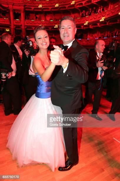 Joachim Llambi and his daughter Katarina Llambi dance during the Semper Opera Ball 2017 at Semperoper on February 3, 2017 in Dresden, Germany.